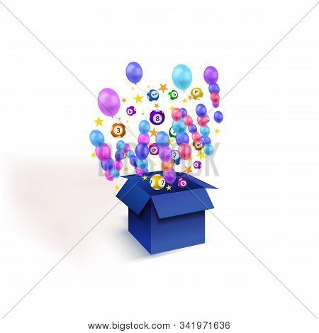 Vector Win Background, Open Magic Box With Balloons, Stars Confetti, Lottery Balls Isolated On White