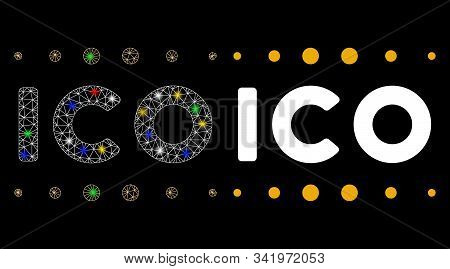 Bright Mesh Ico Caption Icon With Sparkle Effect. Abstract Illuminated Model Of Ico Caption. Shiny W