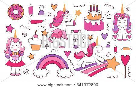 Set Of Cute Cartoon Unicorns Isolated On A White Background. Unicorn Birthday Invitation Card Templa