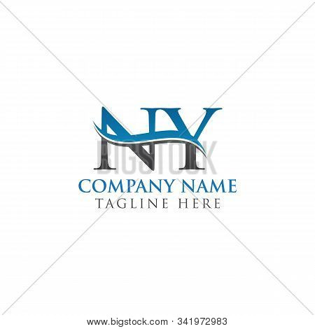 Swoosh Letter Ny Logo Design Vector Template. Water Wave Ny Logo Vector.