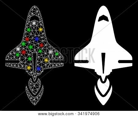 Glowing Mesh Space Shuttle Icon With Glare Effect. Abstract Illuminated Model Of Space Shuttle. Shin
