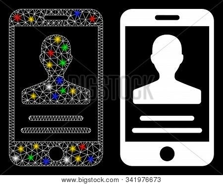 Flare Mesh Mobile Agreement Icon With Glare Effect. Abstract Illuminated Model Of Mobile Agreement.