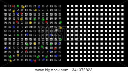 Flare Mesh Regular Square Dots Icon With Glitter Effect. Abstract Illuminated Model Of Regular Squar