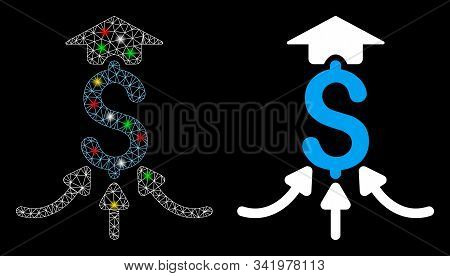 Glowing Mesh Financial Aggregator Icon With Glow Effect. Abstract Illuminated Model Of Financial Agg