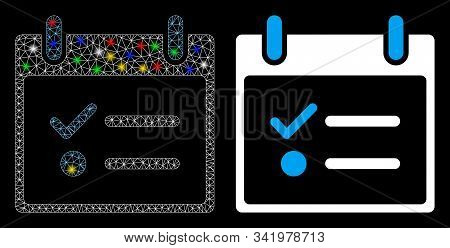Glowing Mesh Todo List Calendar Day Icon With Glare Effect. Abstract Illuminated Model Of Todo List