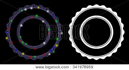 Glowing Mesh Double Rosette Circular Frame Icon With Glitter Effect. Abstract Illuminated Model Of D