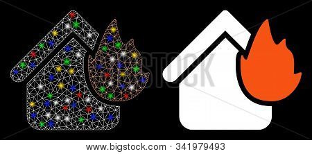 Flare Mesh Home Fire Disaster Icon With Glare Effect. Abstract Illuminated Model Of Home Fire Disast