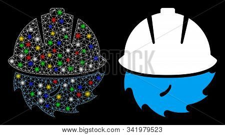 Glossy Mesh Circular Blade Safety Icon With Glitter Effect. Abstract Illuminated Model Of Circular B
