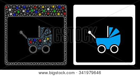 Glossy Mesh Baby Carriage Calendar Page Icon With Glitter Effect. Abstract Illuminated Model Of Baby