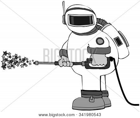 Illustration Of An Astronaut In A Spacesuit Using A Pressure Washer With Stars Coming Out Of The Wan