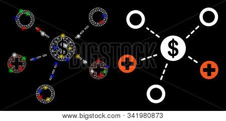 Glossy Mesh Financial Medical Relations Icon With Glow Effect. Abstract Illuminated Model Of Financi