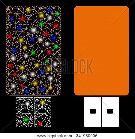 Bright Mesh Usb Flash Drive Icon With Glitter Effect. Abstract Illuminated Model Of Usb Flash Drive.