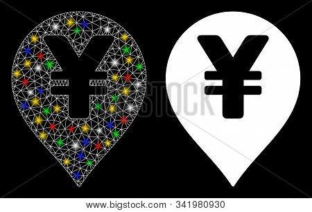 Flare Mesh Yen Map Marker Icon With Glare Effect. Abstract Illuminated Model Of Yen Map Marker. Shin