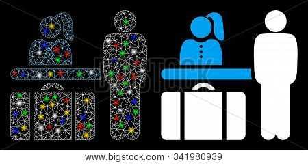 Bright Mesh Hotel Reception Icon With Glare Effect. Abstract Illuminated Model Of Hotel Reception. S