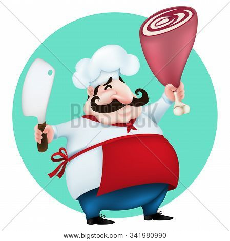 Funny Cartoon Master Chef  With Meat Hatchet Cooking Big Lamb Leg