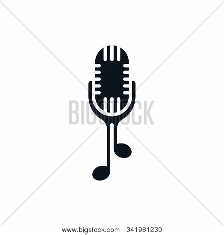 Microphone Icon With Music Notes. Abstract Sound Recording Musical Logo Template.