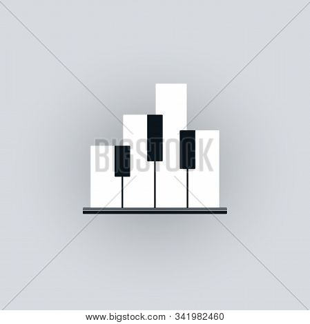 Piano Keyboard Symbol With Abstract Buildings Shape. Music And City Concept Design.