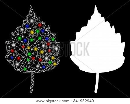 Flare Mesh Birch Leaf Icon With Sparkle Effect. Abstract Illuminated Model Of Birch Leaf. Shiny Wire