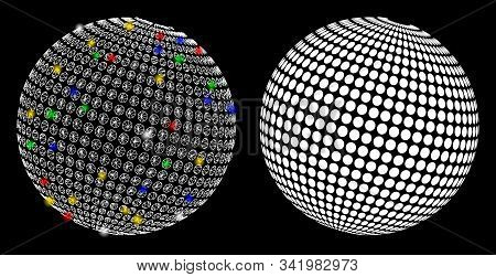 Glossy Mesh Abstract Dotted Sphere Icon With Lightspot Effect. Abstract Illuminated Model Of Abstrac