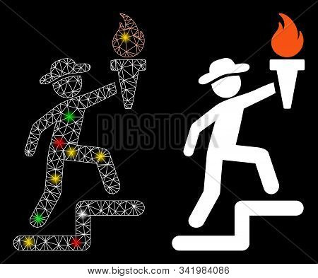 Flare Mesh Gentleman Climbing With Torch Icon With Glare Effect. Abstract Illuminated Model Of Gentl