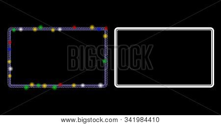 Flare Mesh Double Rounded Rectangle Frame Icon With Lightspot Effect. Abstract Illuminated Model Of