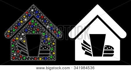 Glowing Mesh Fastfood Cafe Icon With Glitter Effect. Abstract Illuminated Model Of Fastfood Cafe. Sh