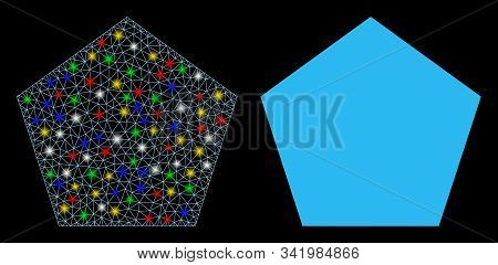 Flare Mesh Filled Pentagon Icon With Lightspot Effect. Abstract Illuminated Model Of Filled Pentagon