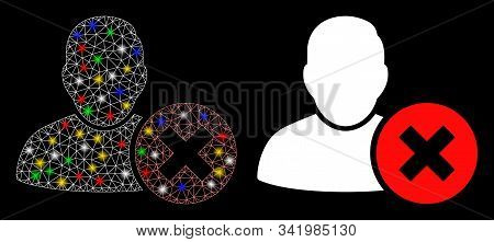 Glossy Mesh Delete User Icon With Glow Effect. Abstract Illuminated Model Of Delete User. Shiny Wire