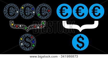 Glowing Mesh Euro Dollar Conversion Aggregator Icon With Glare Effect. Abstract Illuminated Model Of