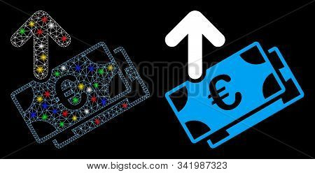 Glossy Mesh Spend Euro Banknotes Icon With Glare Effect. Abstract Illuminated Model Of Spend Euro Ba