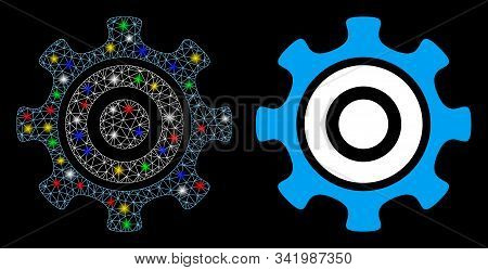 Flare Mesh Cogwheel Icon With Glitter Effect. Abstract Illuminated Model Of Cogwheel. Shiny Wire Car