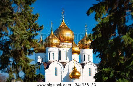 Old Church In Yaroslavl, Russia, Europe. Panoramic Photo With Blue Sky In Background. Travel And Rel