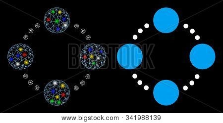 Glossy Mesh Circular Relations Icon With Glare Effect. Abstract Illuminated Model Of Circular Relati