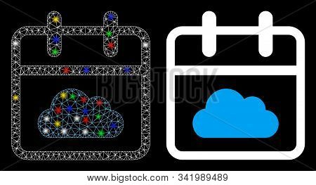 Glossy Mesh Cloudy Day Icon With Lightspot Effect. Abstract Illuminated Model Of Cloudy Day. Shiny W