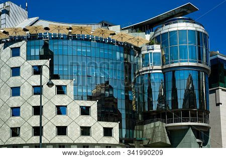 Vienna, Austria - June 3, 2019: The Haas Haus, A Postmodern Attraction On The Stephansplatz, The Hea