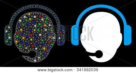 Flare Mesh Operator Head Icon With Sparkle Effect. Abstract Illuminated Model Of Operator Head. Shin