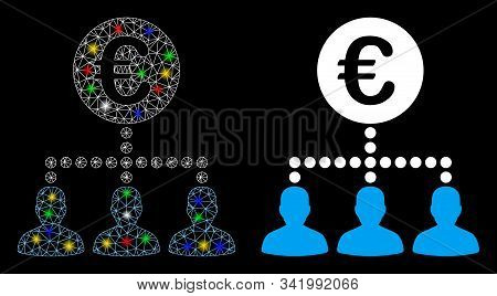 Glossy Mesh Euro Payment Clients Icon With Sparkle Effect. Abstract Illuminated Model Of Euro Paymen
