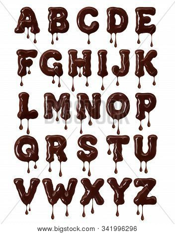 Latin Alphabet Made Of Melted Chocolate With Falling Drops In High Resolution (part 1. Letters) 3d I
