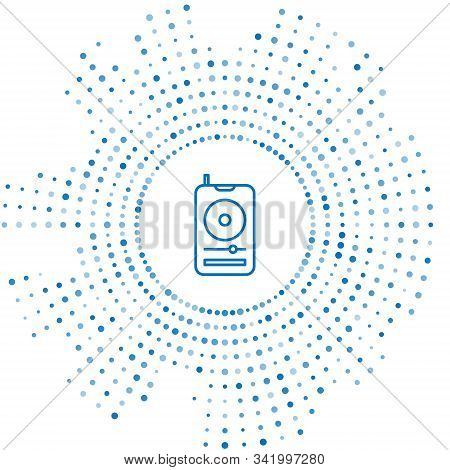 Blue Line Music Player Icon Isolated On White Background. Portable Music Device. Abstract Circle Ran