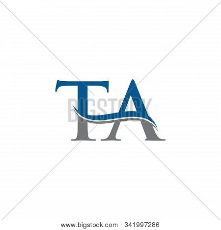 Swoosh Letter Ta Logo Design Vector Template. Water Wave Ta Logo Vector.
