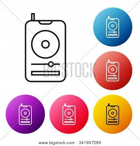 Black Line Music Player Icon Isolated On White Background. Portable Music Device. Set Icons Colorful