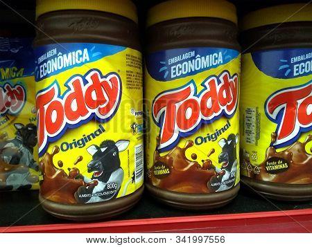 Rio De Janeiro, Brazil - December 27, 2019: Toddy Pots On The Brazilian Supermarket Shelf. It Is A L