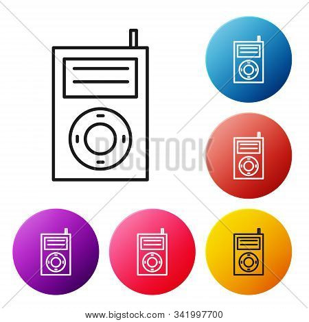 Black Line Music Mp3 Player Icon Isolated On White Background. Portable Music Device. Set Icons Colo