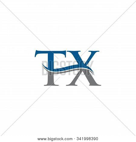 Swoosh Letter Tx Logo Design Vector Template. Water Wave Tx Logo Vector.