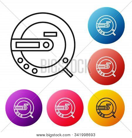 Black Line Music Cd Player Icon Isolated On White Background. Portable Music Device. Set Icons Color