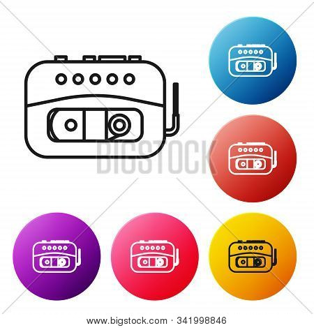 Black Line Music Tape Player Icon Isolated On White Background. Portable Music Device. Set Icons Col