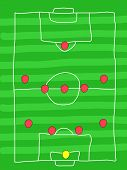 Soccer field - doodle drawing. Football tactics and strategy - popular 4-5-1 team formation. poster
