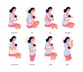 Breastfeeding. Breast feed position, cute young woman holds baby and natural feeding him. Motherhood, mother and baby isolated vector set. Mother breastfeeding, breastfeed health newborn illustration poster