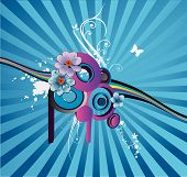 floral abstract composition over a blue background poster