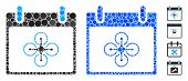 Airdrone calendar day mosaic of round dots in variable sizes and color tones, based on airdrone calendar day icon. Vector round dots are organized into blue mosaic. poster